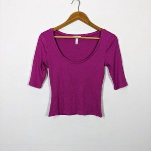 3/15 Leith Purple Orchid Scoop Neck Ribbed Tee